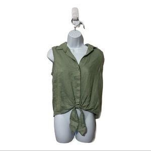 Cloth & Stone Tie Front Sleeveless Button Down XS